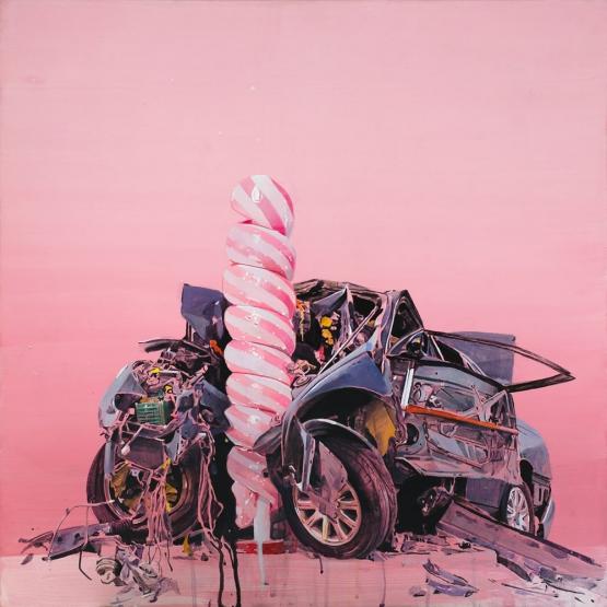 """""""Candy crash"""" · acrylic on canvas · 65x65cm · 2017"""