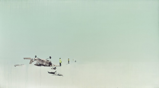 """A world where death is an everyday occurrence"" · acrylic and graphite pencil on canvas · 150x270cm · 2011"