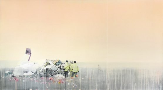 """A non-egocentric death"" · acrylic on canvas · 150x270cm · 2011"